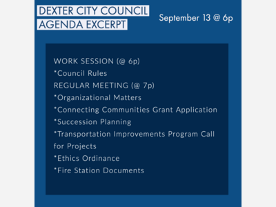 Dexter City Council Work Session and Meeting
